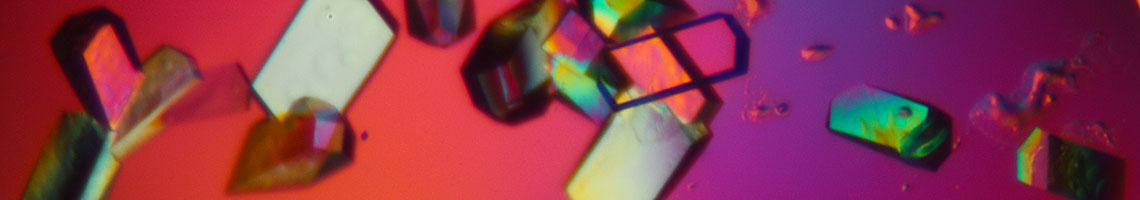 Image of crystals as viewed by polarised light microscopy